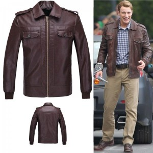 Captain America Chris Evans Cosplay Leather Jacket Coat The Avengers New Year